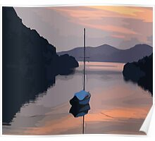 Boat At Bozburun At Sunset Vector Image Poster