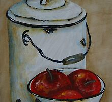 Still Life with apples in bowl by Sonja Peacock