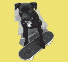 SK8 Staffy Dog black and white Kids Clothes