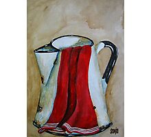 Jug with red kitchen towel Photographic Print