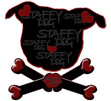 Staffy Dog and Crossbones of Love Photographic Print