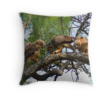 Great Horned Owls Feeding Throw Pillow