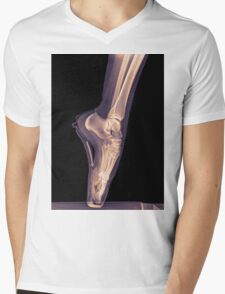 x-ray of a ballet dancer standing on pointe  Mens V-Neck T-Shirt