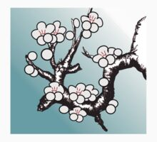 White Sakura Cherry Blossom Vector Design T-Shirt
