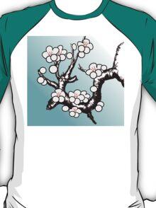 White Sakura Cherry Blossom Vector Design T-Shirt