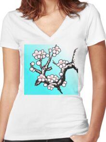 White Sakura Cherry Blossom Vector Design Women's Fitted V-Neck T-Shirt