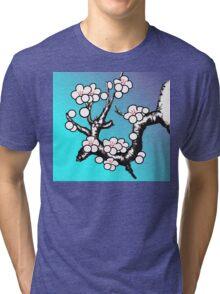 White Sakura Cherry Blossom Vector Design Tri-blend T-Shirt