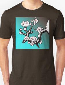 White Sakura Cherry Blossom Vector Design Unisex T-Shirt