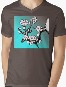 White Sakura Cherry Blossom Vector Design Mens V-Neck T-Shirt