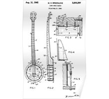 Long Neck Banjo patent from 1964 Poster