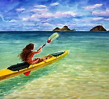 Hawaiian Kayaking Girl By Yuriy B. by bihusyak