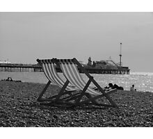 Deck Chairs at Brighton England Photographic Print