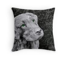 Just a green eyed dog Throw Pillow