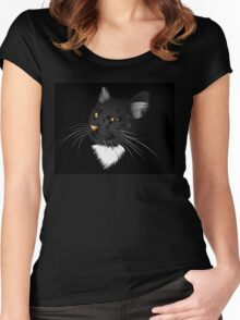 Black cat in the dark Women's Fitted Scoop T-Shirt