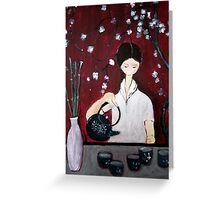 Girl Making Tea Greeting Card