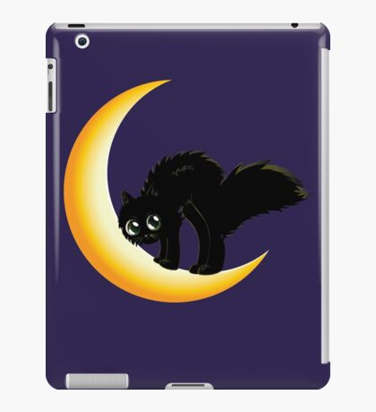 Cute cartoon black kitten on crescent moon. iPad Case/Skin