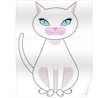 White Cat with blue eyes Poster