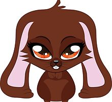 Cute cartoon brown bunny with big eyes by AnnArtshock