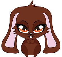 Cute cartoon brown bunny with big eyes Photographic Print