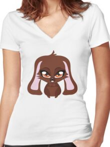 Cute cartoon brown bunny with big eyes Women's Fitted V-Neck T-Shirt