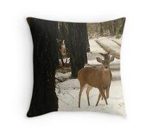 Deers snowday Throw Pillow