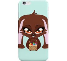 Cute cartoon brown bunny with basket of Easter eggs iPhone Case/Skin