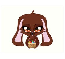 Cute cartoon brown bunny with basket of Easter eggs Art Print