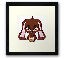 Cute cartoon brown bunny with basket of Easter eggs Framed Print