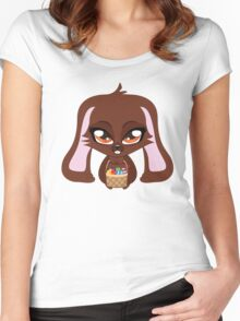 Cute cartoon brown bunny with basket of Easter eggs Women's Fitted Scoop T-Shirt