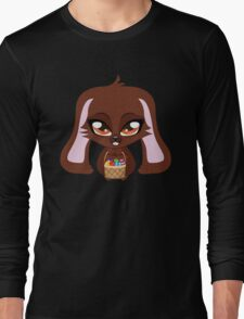 Cute cartoon brown bunny with basket of Easter eggs Long Sleeve T-Shirt