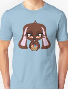 Cute cartoon brown bunny with basket of Easter eggs T-Shirt