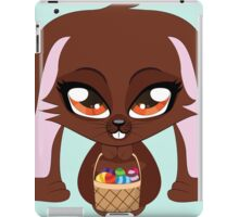Cute cartoon brown bunny with basket of Easter eggs iPad Case/Skin