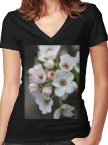 White and Pink Flowers  Women's Fitted V-Neck T-Shirt