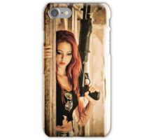Aggressive Young woman of 24 with automatic rifle  iPhone Case/Skin