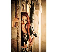 Aggressive Young woman of 24 with automatic rifle  Photographic Print