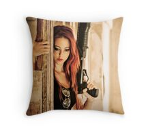 Aggressive Young woman of 24 with automatic rifle  Throw Pillow