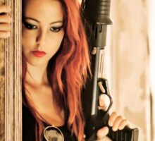 Aggressive Young woman of 24 with automatic rifle  Sticker
