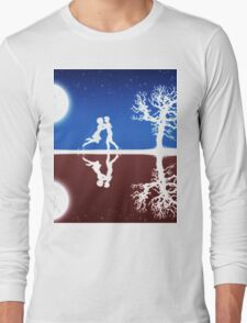 Abstract background with white silhouettes Long Sleeve T-Shirt