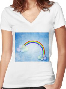 Abstract rainbow clouds Women's Fitted V-Neck T-Shirt