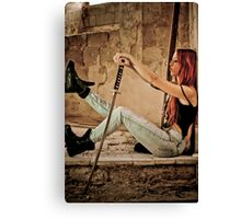 Aggressive Young woman of 24 with a Samurai Sword  Canvas Print