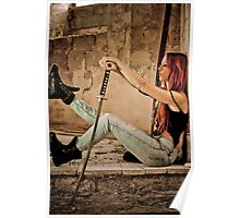 Aggressive Young woman of 24 with a Samurai Sword  Poster