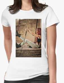 Aggressive Young woman of 24 with a Samurai Sword  Womens Fitted T-Shirt