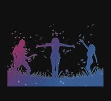 People silhouettes with grass and butterflies Kids Clothes