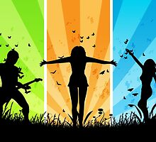 People silhouettes with grass and butterflies 3 by AnnArtshock