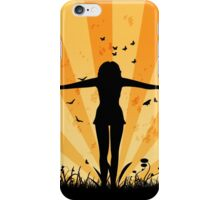 People silhouettes with grass and butterflies 3 iPhone Case/Skin
