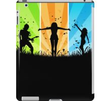 People silhouettes with grass and butterflies 3 iPad Case/Skin