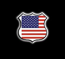 American Shield, Stars & Stripes, USA, Pure & Simple, on BLACK by TOM HILL - Designer