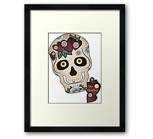 Sugar Skull Hearts and Blue Flowers Framed Print