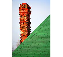 Red Chimney and Green Shingles Photographic Print