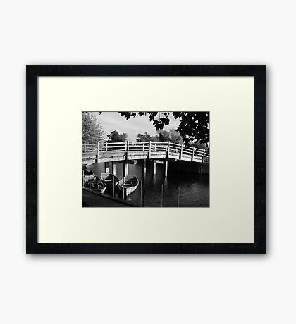 Rowing boats in Constable Country in black and white Framed Print